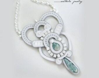 Wedding statement bridal necklace silver mint stone soutache alabaster necklace long boho necklace Bib necklace luxury necklace