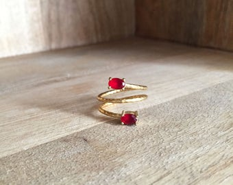 Hammered Triple ring / Gold plated / Red jade