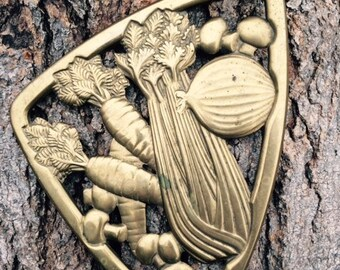 Gorham Brass Trivet, Triangular shaped, Italy, Vintage, Décor, Gift
