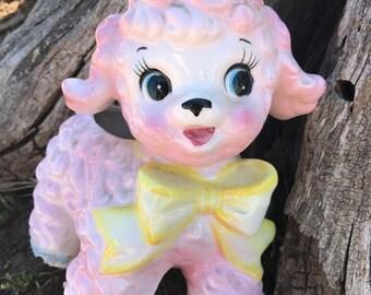 Vintage Pink Lamb, 1961, Samson, Lamb Planter, 0431A, Japan, Fine Ceramic, Décor, Nursery, Baby Room, gift