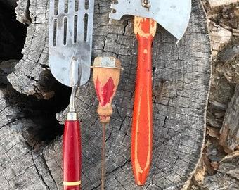 Vintage Set of Three Red Wooden Handle Utensils, Ekco, Kitchen Décor, Rustic, Primitive Utensils