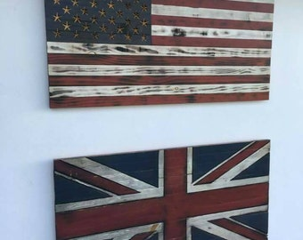 Two small rustic carved wood flags mix and match discount bundle