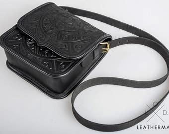 Black leather purse, Crossbody bag, Shoulder leather bag, Genuine leather bag, Messenger bag, Hot tooled leather, Black bag, Handmade bag
