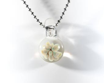 Floral Implosion Pendant #8, Glass Flower Pendant, Boro Pendant, Lampwork Focal