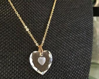 Vintage glass heart pendant, glass heart pendant, vintage heart pendant, glass heart pendant, heart pendant necklace, heart necklace N195