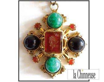 VINTAGE FLORENZA NECKLACE / Baroque collar Florenza /Collier Vintage Florenza cross.