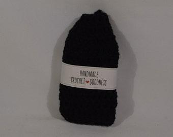 Messy Bun Hat, Crochet Hat, Ear Warmer, Ponytail Hat, Messy Bun Beanie Black