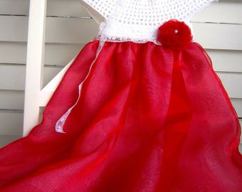 Baptism Dresses for Girls, Baby Girl Dress Wedding, Baby Christening Gown, Baby Special Occasion Dress, Crochet Christening Gown, Red Dress