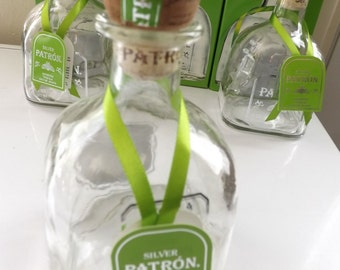 Individual Silver Patron Tequila Bottle 375ml with cork, box, tag, and paper