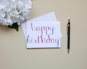 Happy Birthday, Watercolor Birthday Card
