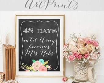 Days Until Bride Becomes Mrs. Sign, Bridal Shower Decoration, Bridal Shower Sign Printable, Until Becomes Mrs Sign, Countdown Bridal Sign