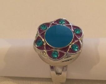 Lake blue enamel flower ring