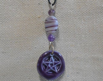 Pentacle Star Wiccan Clay Pendant with Amethyst and Glass Bead