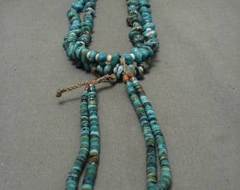 Mystique Vintage Navajo 'Royston Collection Turquoise' Heishi Necklace Old