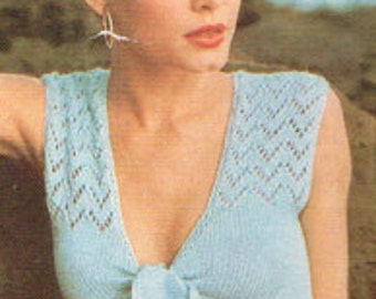 Vintage Women's Knitting Pattern - Ladies summer vest - 70's instant download PDF - knitting pattern for ladies