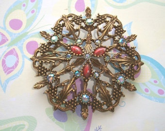 """Vintage Large 3"""" Signed Emmons Brooch,Red coral cabochons,ab rhinestones,Aurora Borealis,Gold tone,antiqued,round,shield,Statement,costume"""