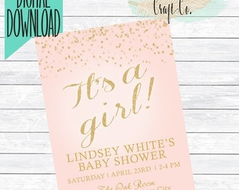 Its A Girl! Baby Shower Invitation,Pink Gold Glitter,Ombre,Simple,Girly,Baby Sprinkle,Diaper Shower,Gender Reveal,Printable,Digital Download