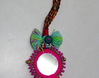 Big pompom and mirror Bag charms, door hangings, key chain/Decor/Mirror bag charm