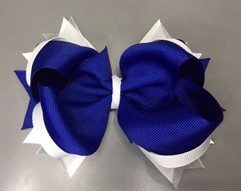 Blue and white boutique bow