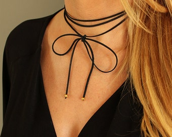 Suede Double Wrap Chocker / Leather Chocker Necklace / Suede Wrap Chocker / Real Suede Black Chocker / Bow Tie Suede Necklace