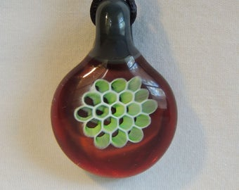 """FREE SHIPPING! """"Dragons Blood"""" Backed 3D Honeycomb, Borosilicate Glass Pendant / Necklace"""