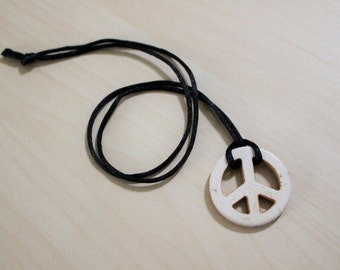 Peace Sign Magnesite Necklace
