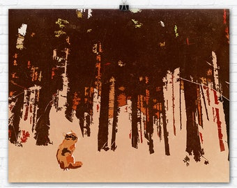 Chipmunk in Autumn Forest Graphic Art Illustration