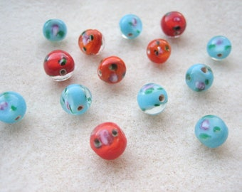 Lamp work beads (14pcs), 8mm glass round, mixed colours, floral lamp beads, vintage lamp beads, pink flowers