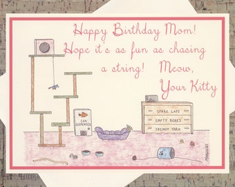 Cat Birthday Card, Mom Birthday Card, Mother Birthday Card, Funny Cat Birthday Card, Funny Mom Birthday Card, Cat Lover Card, Cat Card
