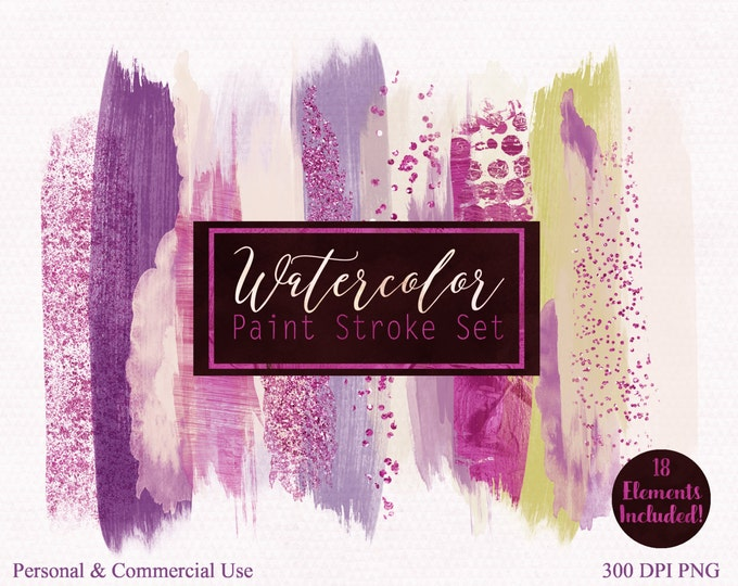 WATERCOLOR BRUSH STROKES Clipart Commercial Use Clip Art Watercolor Paint Blog Header Purple & Hot Pink Confetti Watercolor Logo Clipart