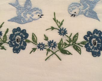 Vintage pillowcase with embroidery blue bidrs Light and dark blues
