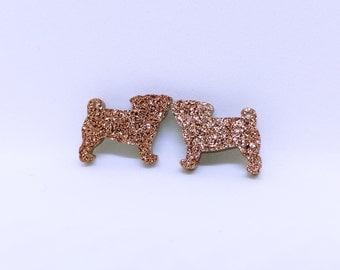 glitter bronze pug earrings studs