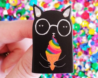 Brooch // Pin // Black Cat // rainbow icecream // shrink plastic // Illustrated cat pin or magnet // quirky jewelry