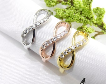 Infinity Ring Cz 925 Sterling Silver Gold Rose