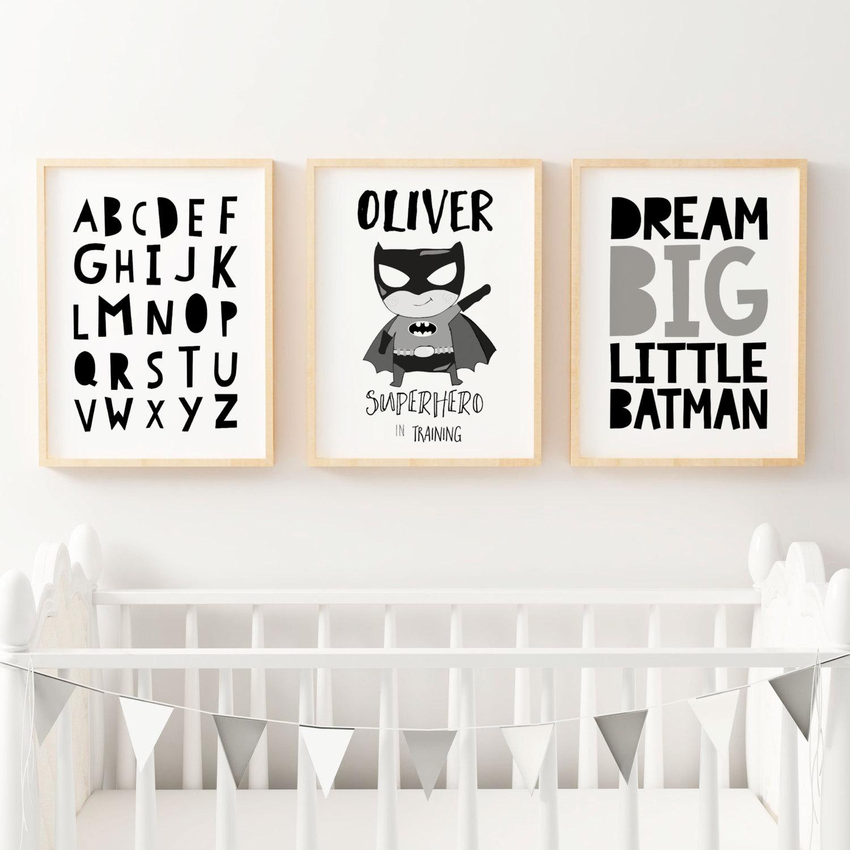 Boys Superhero Monochrome Nursery Bedroom Prints Kids Wall
