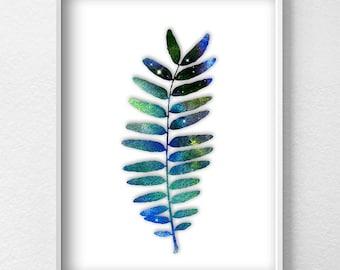 Leaf printable art Scandinavian Art Prints, Hexagon Prints, Printable Art, Abstract Art, Digital download, Space Wall Decor Watercolor Print