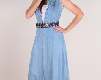 Button Up Denim Dress, Sleeveless, Front Pocket, Light Jean Dress - 170123