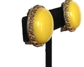 Yellow button clip on earrings vintage lucite and metal jewelry
