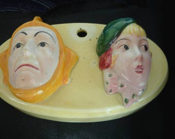 Art Deco Pottery Wall Face Mask Plaque