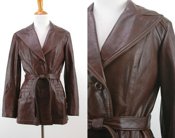 70s Brown Belted Leather Jacket - Fitted Leather Jacket - Size Small