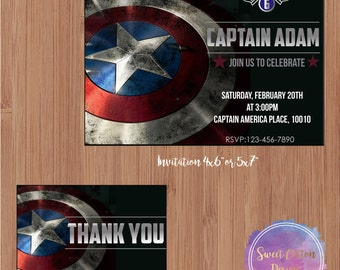 Captain America Birthday Party Invitation with thank you note