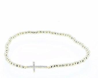 Cross,  Silver Cross  Bead Bracelet