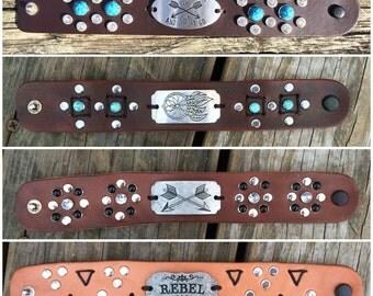 Handcrafted Leather Cuff Bracelets - Rhinestones, Metal Plates, Gemstones, Rivetsb