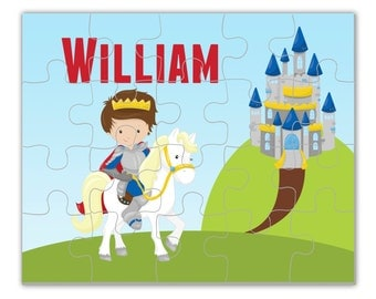 Personalized Knight Puzzle - Blue Castle White Horse Puzzle, Royal Prince Knight Boy Puzzle, You Pick Boy - Kids Personalized Gift under 20