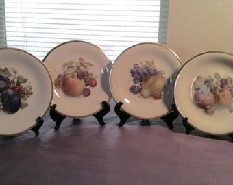 Gold rimmed display plates set of 4 Schwarzenhammer fruit plates ca. 1950 with display stands