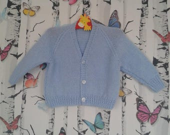 Boys Cardigan, Blue Cardigan, Knitted Cardigan, 6 - 9 Months, Handmade, Hand Knitted, Baby Boy Gift