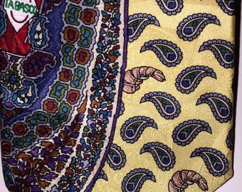 Vintage TABASSCO  DESIGN COLLECTION Wild Paisley Shrimp Print 100% Silk Necktie Tie