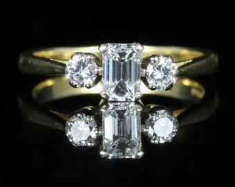 Antique Emerald Cut Diamond Trilogy Ring 18ct Gold