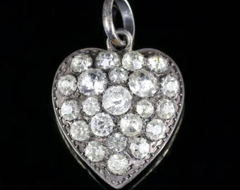Antique Georgian Paste Heart Pendant Circa 1800 Silver
