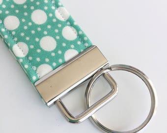Key Fob, Teal Blue Dots Key Wristlet, Decorative Keychain